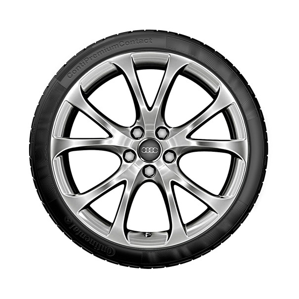 Audi 19 inch lichtmetalen zomerset, 5-V-spaak, zilver