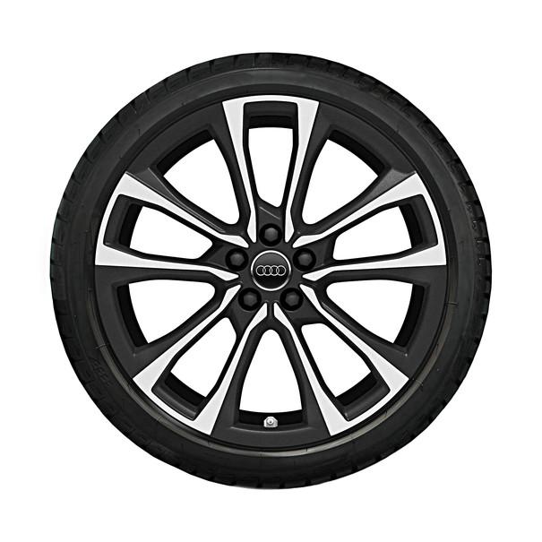 Audi 18 inch lichtmetalen zomerset, 5-V-spaak pilleus design (mat zwart)