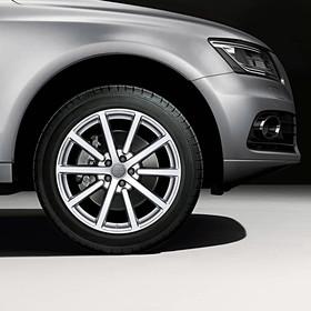 Audi 20 inch lichtmetalen zomerset, 10-spaak zilver