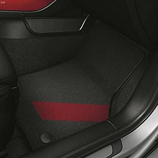 Audi Veloursmatten A3, zwart / misona rood, voor en achter