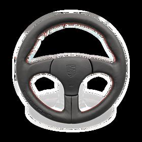 Sportstuur zonder airbag zwart sierstiksels Guards Red - Porsche 964