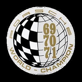 Porsche Auto raamsticker - World Champion 69-70-71