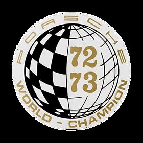 Porsche Auto raamsticker - World Champion 72-73