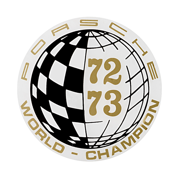 Porsche Auto raamsticker - World Champion 72-73
