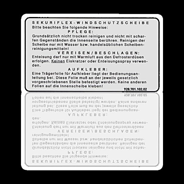 Sticker 'Sekuriflex' - Porsche 911, 928, 944/2, 959 en 964
