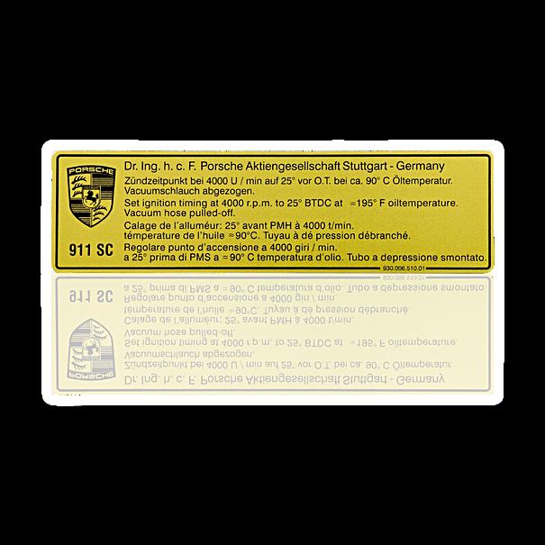 Sticker 'ontstekingsmoment' - Porsche 911 SC