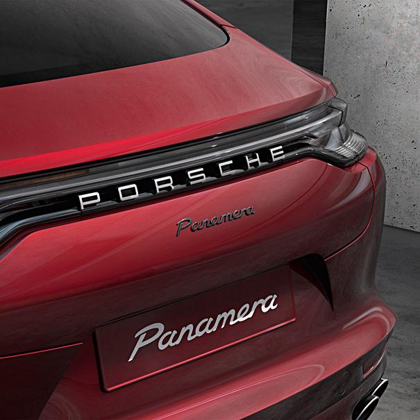 Porsche Embleem hoogglans zwart 'Panamera 4S'