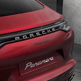 "Porsche Embleem hoogglans zwart 'Panamera Turbo S"""