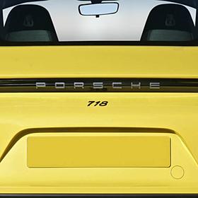 """Porsche Embleem hoogglans zwart '718"""""""