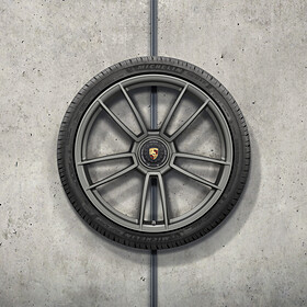 Porsche 20/21 inch 911 Turbo S complete winterwielenset, platina (zijdeglans) gespoten