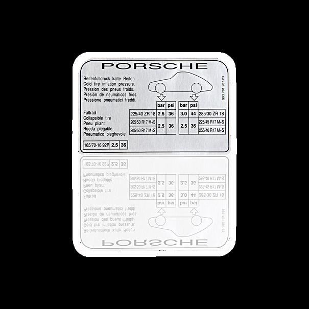 Sticker 'bandenspanning' - Porsche 993 Carrera 4 S