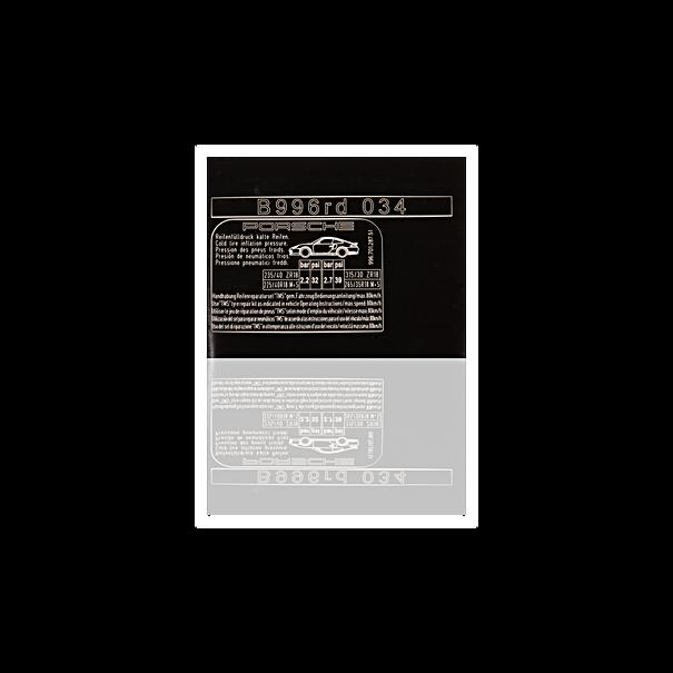 Sticker 'bandenspanning' - Porsche 996 Turbo GT2