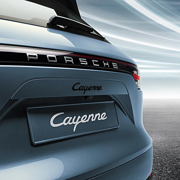 Porsche Embleem hoogglans zwart 'Cayenne Turbo S E-Hybrid'