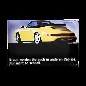 Porsche Emaille schild - 964 Cabriolet - Snel bruin worden