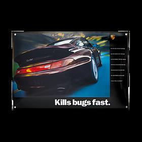 Porsche Emaille schild - 993 Kills bugs fast