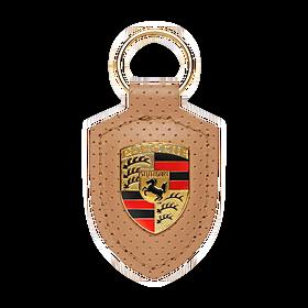 Lederen sleutelhanger Porsche embleem, Heritage collectie