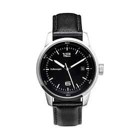 Volkswagen Armbanduhr für Herren, Schwarz/Edelstahl