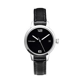 Volkswagen Armbanduhr für Damen, Schwarz/Edelstahl