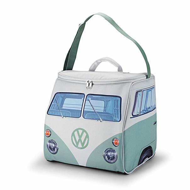 Volkswagen Koeltas in groen-wit design van de iconische T1 Camper. Deze koeltas heeft een ritssluiting aan de b