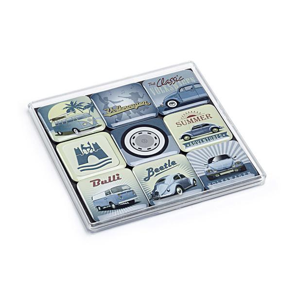 Volkswagen Magnetenset, 9 retro motiven