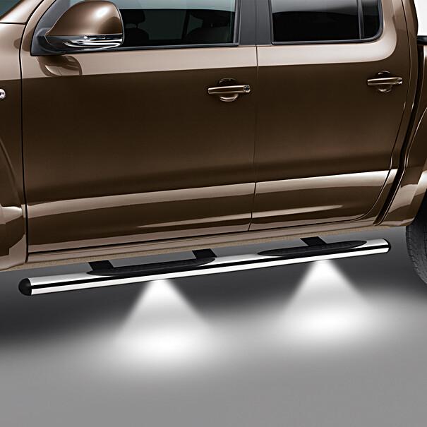 Volkswagen RVS sidebars Amarok, gepolijst met steps en LED verlichting