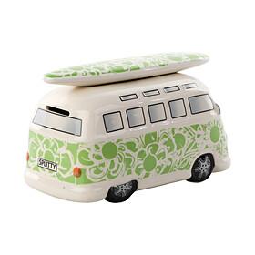 Volkswagen T1 Bulli spaarpot groen met bloemen