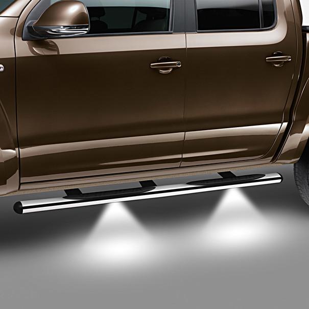 Volkswagen Bedrijfswagens RVS sidebars Amarok, gepolijst met steps en LED verlichting