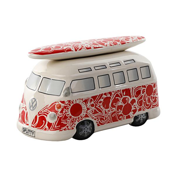 Volkswagen Bedrijfswagens T1 Bulli spaarpot rood met bloemen