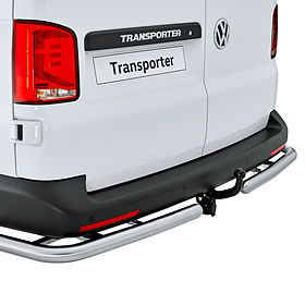 Volkswagen Bedrijfswagens Rearbar T5 / T6 / T6.1 RVS mat (met bocht - i.c.m. trekhaak), Alcochem